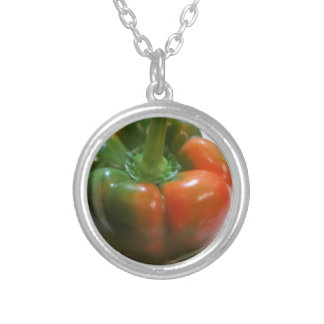 Red & Green Pepper Round Pendant Necklace
