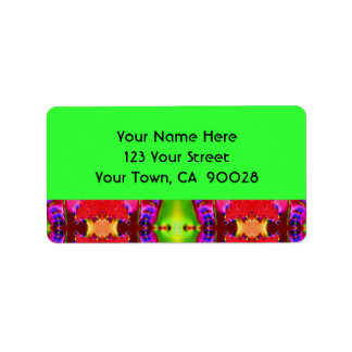 red green pink abstract address label
