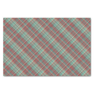 Red Green Plaid Pattern Tissue Paper