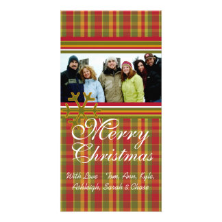 Red Green Plaid Snowflake Holiday Family Pictures Customized Photo Card