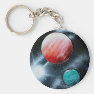 Red Green Planets and White star spraypainting Basic Round Button Key Ring