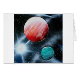 Red Green Planets and White star spraypainting Stationery Note Card