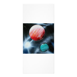 Red Green Planets and White star spraypainting Full Color Rack Card