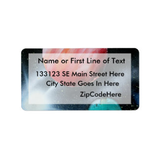 Red Green Planets and White star spraypainting Address Label
