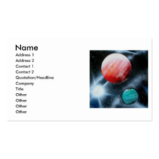 Red Green Planets and White star spraypainting Pack Of Standard Business Cards
