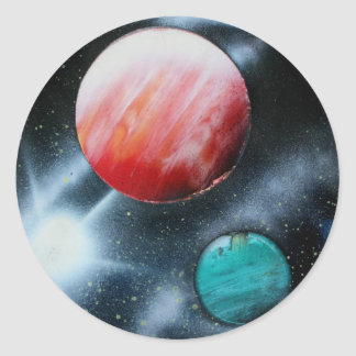 Red Green Planets and White star spraypainting Round Stickers