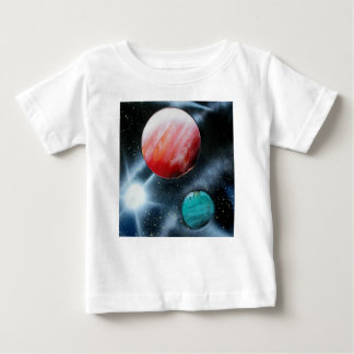 Red Green Planets and White star spraypainting T-shirt