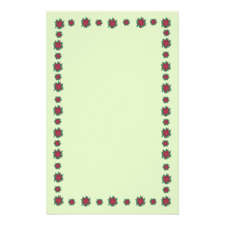 Red Green Poinsettia Flowers Border Stationery