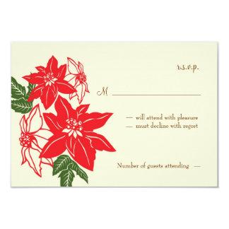 Red & Green Poinsettias Christmas Wedding Card