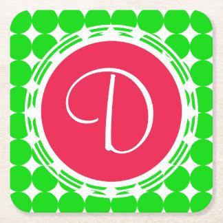 Red & Green Polka Dot Monogram Square Paper Coaster