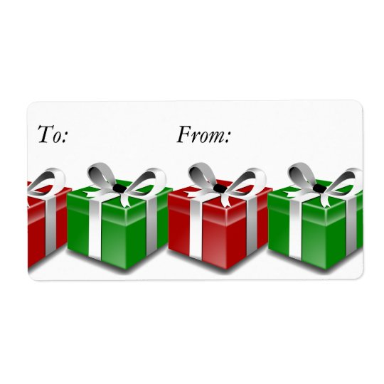 Red Green Presents Bows Christmas Gift Tag Labels