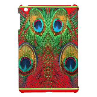 Red-Green-Purple-Gold Peacock Feathers gifts Cover For The iPad Mini