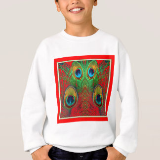 Red-Green-Purple-Gold Peacock Feathers gifts Sweatshirt