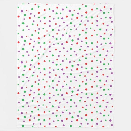 Red Green Purple Polka Dots Tote Fleece Blanket