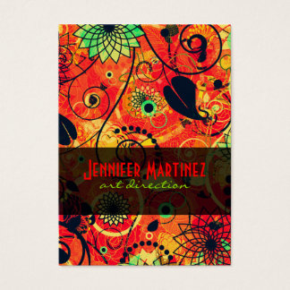 Red & Green Retro Floral Collage Business Card