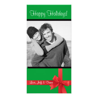 red green ribbon christmas photocard photo card template