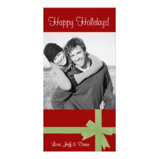 red green ribbon christmas photocard photo cards