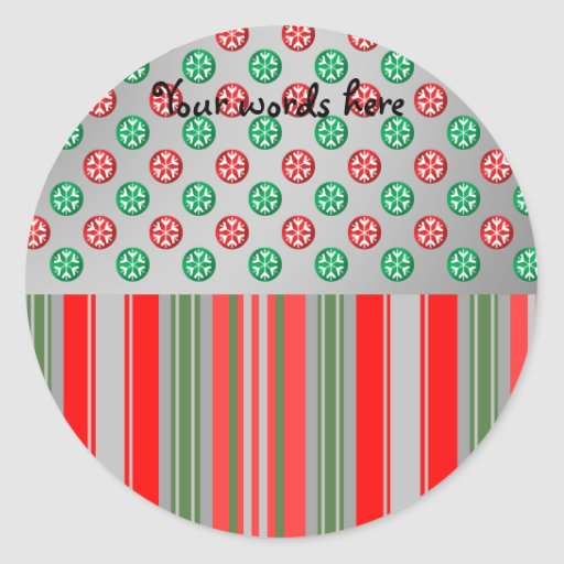 Red green snowflakes in circles on silver stripes stickers