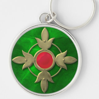 Red Green Steampunk Gem Silver-Colored Round Key Ring