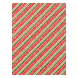 Red green striped holly merry bright tablecloth
