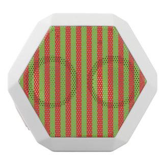 Red Green Stripes Pattern White Boombot Rex Bluetooth Speaker