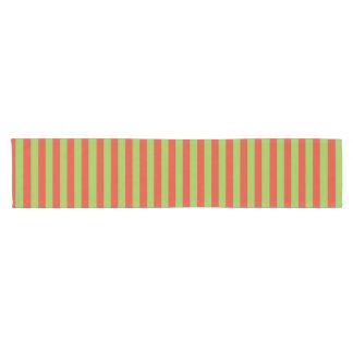 Red Green Stripes Pattern Short Table Runner