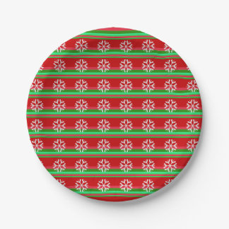 Red Green Stripes Snowflakes Paper Plate