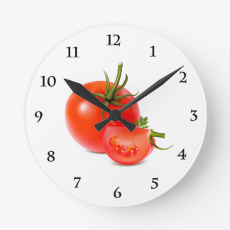 Red Green Tomato Food Art Clock
