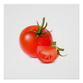Red Green Tomato Food Art Poster