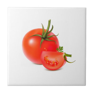 Red Green Tomato Food Art Small Square Tile