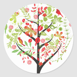 Red green tree and cute birds sticker