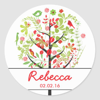 Red Green Tree of Life Birds Bat Mitzvah Classic Round Sticker