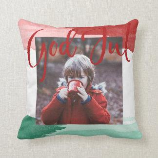 Red&green Vattenfärg - good Christma - Familjefoto Cushion