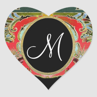 Red Green Vintage Frame Any Initial Monogram V10 Stickers