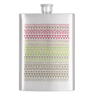 Red Green Watercolor Aztec Tribal Print Pattern Flask