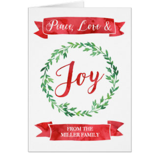 Red Green Watercolor Wreath Christmas Card