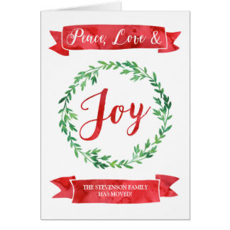 Red Green Watercolor Wreath Christmas New Address Card