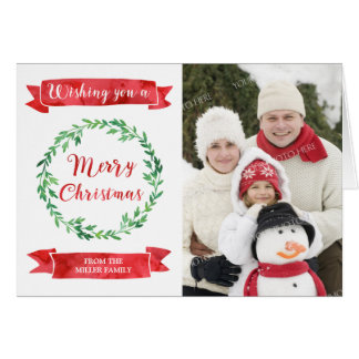 Red Green Watercolor Wreath Christmas Photo Card