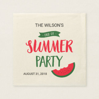 Red Green Watermelon End of Summer Party Disposable Napkin