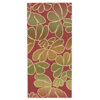 Red Green Whimsical Ikat Floral Doodle Pattern Wood USB 2.0 Flash Drive