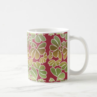 Red Green Whimsical Ikat Floral Doodle Pattern Mugs