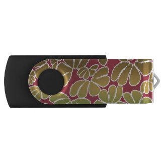 Red Green Whimsical Ikat Floral Doodle Pattern Swivel USB 2.0 Flash Drive