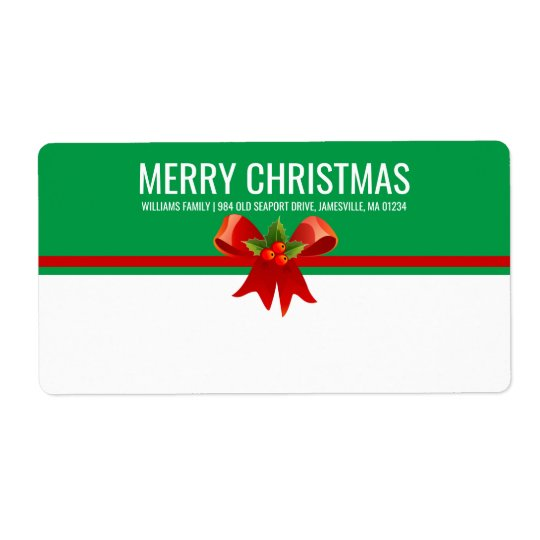 Red Green & White Christmas Shipping Label