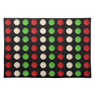 Red Green White Dot Pattern Placemat