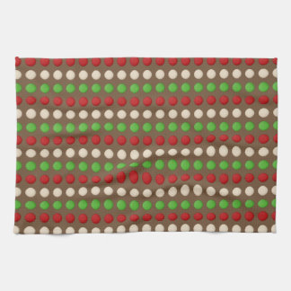 Red Green White Dots Tea Towel