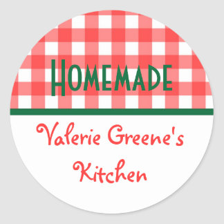 Red green white gingham homemade food label seal round sticker