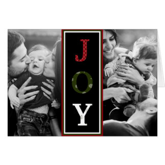 Red, Green & White JOY Typography | Holiday Photo Card
