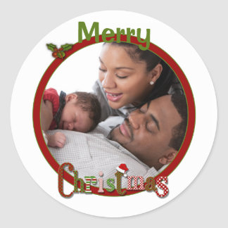 Red Green White Merry Christmas Photo Sticker