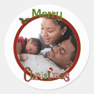 Red, Green, White Merry Christmas Photo Sticker