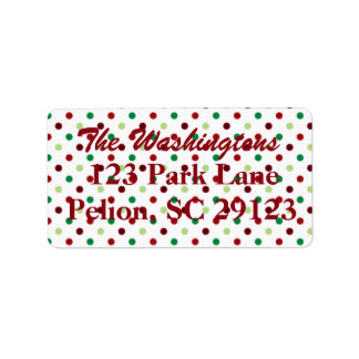 Red Green & White Polka Dot Christmas Address Label